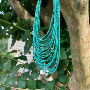 Jewelry - Turquoise multi strand seed beads necklace